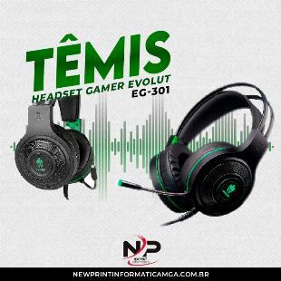 Headset Gamer Evolut Têmis Eg-301 Verde - 5x S/Juros