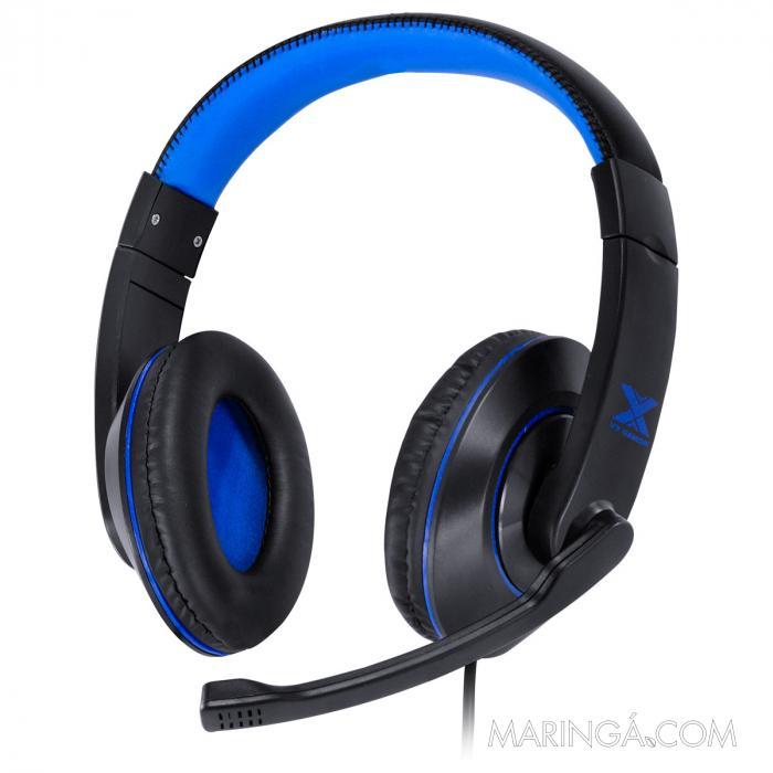 FONE HEADSET GAMER V BLADE II USB COM MICROFONE RETRATIL E AJUSTE DE HASTE PRETO COM AZUL - GH202 SKU 31535