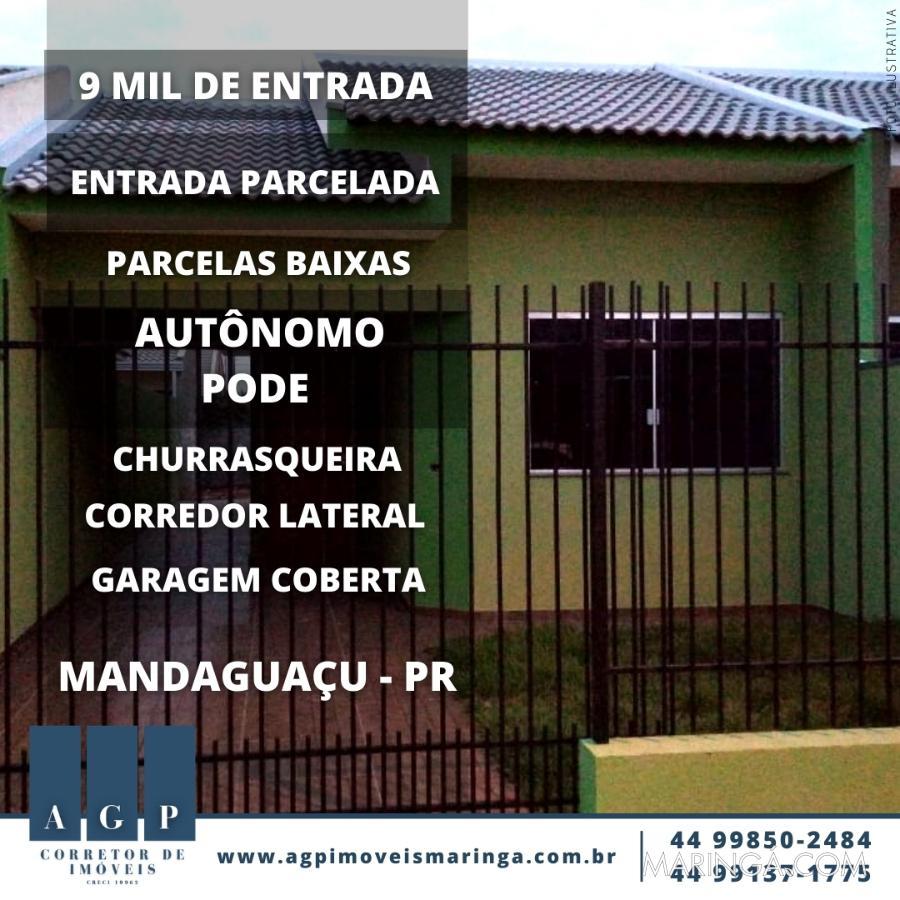 9 Mil de Entrada casa com garagem coberta, corredor lateral, em Mandaguaçu: churrasqueira + área gourmet, com acabamentos Top.