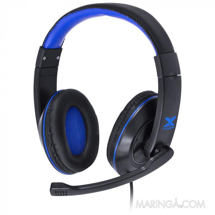 FONE HEADSET GAMER V BLADE II P2 ESTEREO COM MICROFONE RETRATIL E AJUSTE DE HASTE - PRETO COM AZUL SKU 29379
