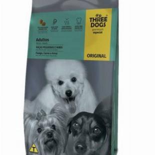 RAÇÃO THREE DOGS ADULTOS RAÇAS PEQUENAS E MINIS