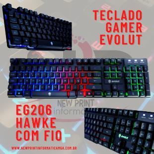 Teclado Gamer Evolut Hawke Backlight LED - 12x S/Juros!!