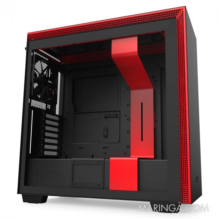 GABINETE ATX MID-TOWER - H710 BLACK/RED - LATERAL COM VIDRO TEMPERADO - CA-H710B-BR SKU 32358